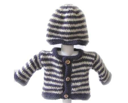 KSS Purple Off White Striped Sweater/Cardigan with a Hat (3 Months)