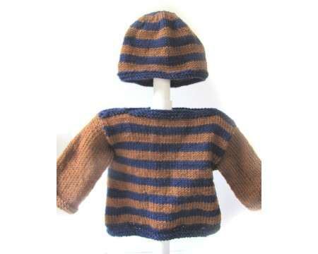 KSS Purple/Brown Colored Sweater and Hat Set (2 Years)
