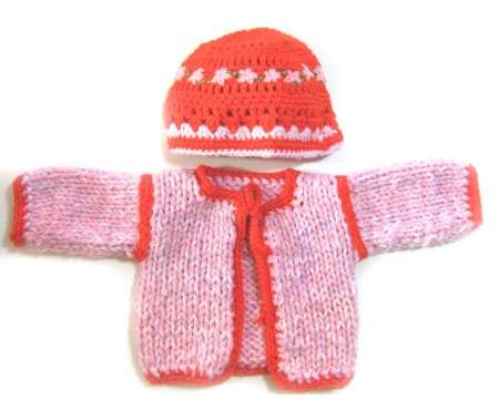 KSS Pink/Red Heavy Sweater/Cardigan with a Hat (6 Months)