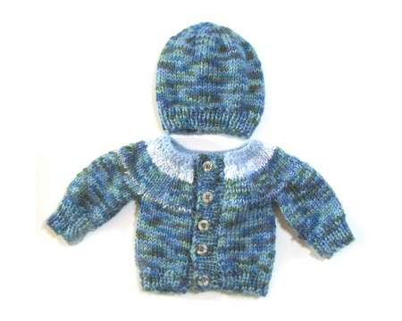 KSS Light Blue/Blue Sweater/Cardigan with a Hat Newborn