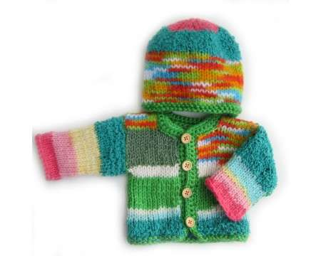 KSS Deep Valley Sweater/Cardigan with a Hat (Newborn)