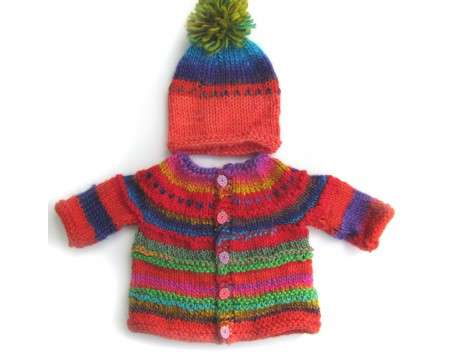 KSS Deep Valley Sweater/Cardigan with a Hat (6 - 9 Months)