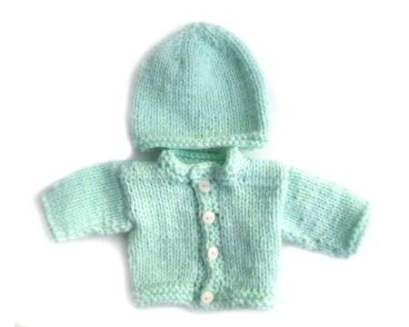 KSS Mint Green Sweater/Cardigan with a Hat (Newborn)