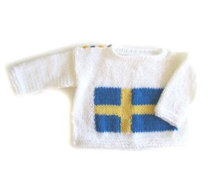 KSS Blue, Yellow and White Pullover Swedish Flag Sweater (3-4 Years)