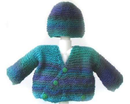 KSS Blue/Green Wrap Baby Sweater/jacket and Hat (3-6 Months)