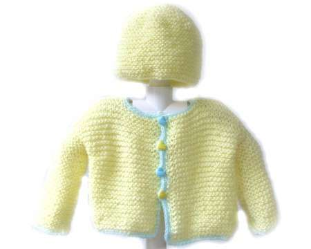 KSS Yellow Baby Sweater with a Hat (12 Months)