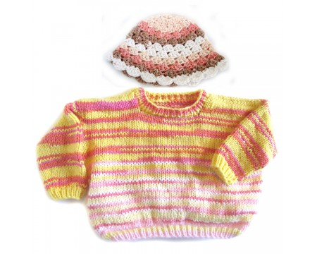 KSS YellowPink Knitted Cotton Pullover Sweater & Hat (4-5 Years)