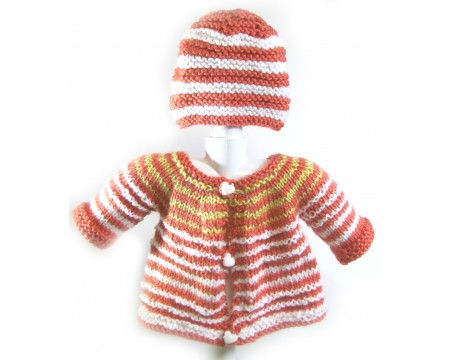 KSS Peach/White Knitted Sweater and a Hat (6 Months)