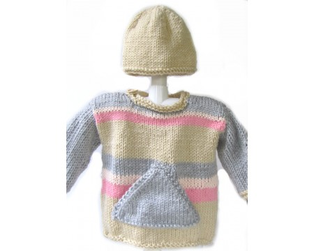 KSS Pink, Grey and Silver Tweed Sweater and Hat 3-4 Years