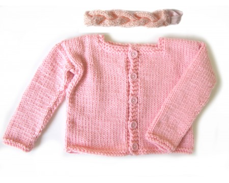 KSS Pink Knitted Acrylic Sweater/Jacket & Headband 4-5 Years