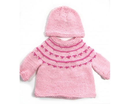 KSS Pink Soft Pullover Sweater with a Hat (6 Months)
