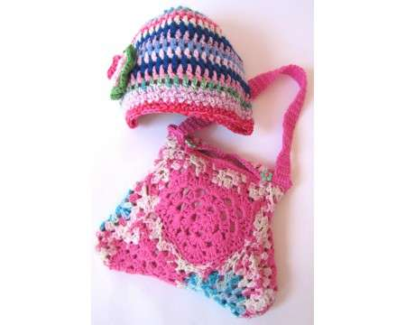 KSS Handmade Lined Purse and Hat in Bright Colors