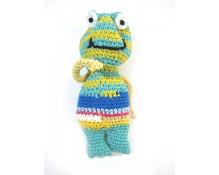 "KSS Knitted Cotton Frog 7"" tall"
