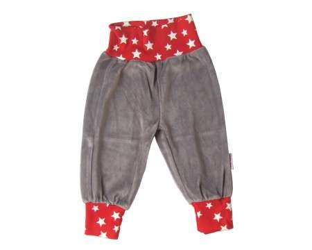 Liten Jag Gray Velour Pants with Stars on Red 2 - 6 Months