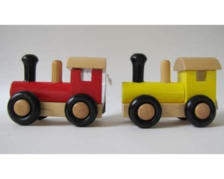 Two Wooden Locomotives Red and Yellow 07527-2PC